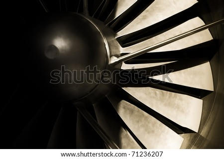 jet engine turbine blades abstract with strong shadows - stock photo