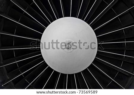 Jet engine turbine closeup - stock photo