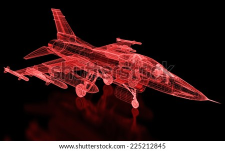 Jet Fighter Aircraft  Mesh. Part of a series. - stock photo
