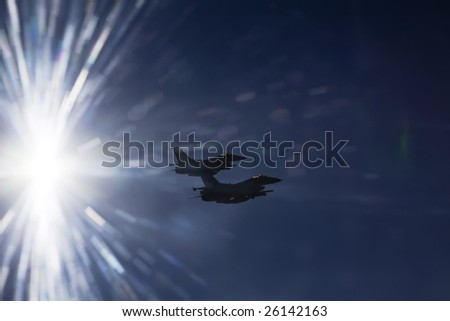 Jet fighter at high speed with sky - stock photo