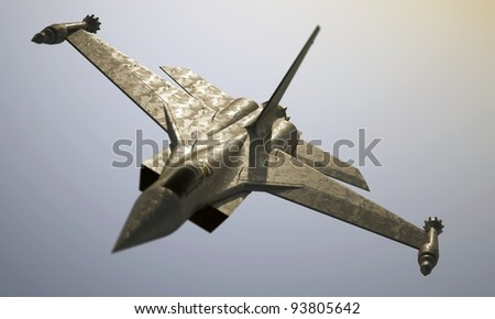 jet fighter roll - stock photo