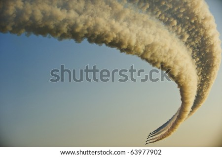 Jet fighters in formation during an air show (Italy) - stock photo