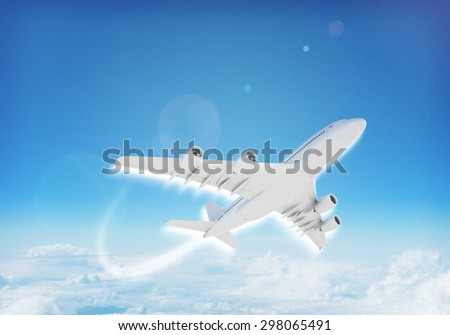 Jet flying in blue sky with clouds