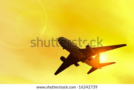Jet flying in the sun-rays on background. Sunset scene. 3D generated image. - stock photo