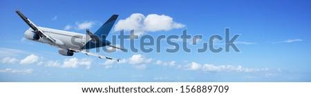 Jet in flight - stock photo