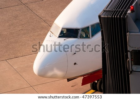 Jet in the airport - stock photo