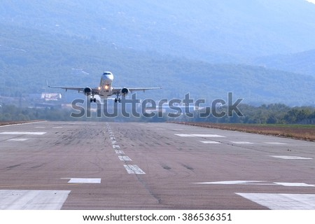 Jet in the Tivat airport, Montenegro - stock photo