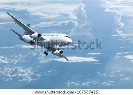 Jet maneuvering for landing - stock photo