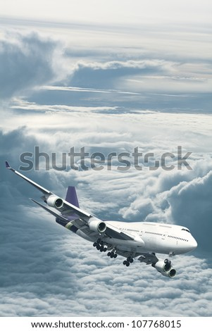 Jet plane above the clouds. Vertical composition. - stock photo