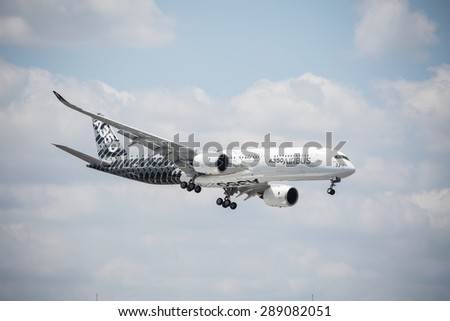 Jet plane at the Intenational Paris Air Show  Le Bourget on June 19, 2015 in Paris, France - stock photo