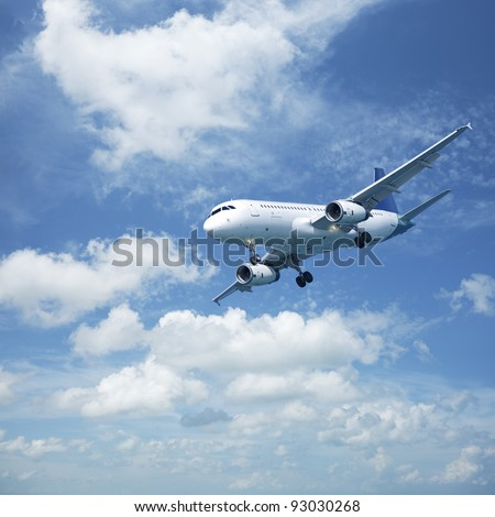Jet plane in a blue cloudy sky. Square composition.