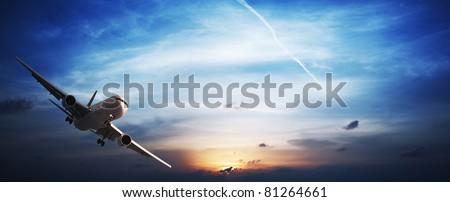 Jet plane in flight. Panoramic image. - stock photo
