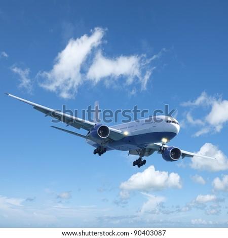 Jet plane in flight. Square composition. - stock photo