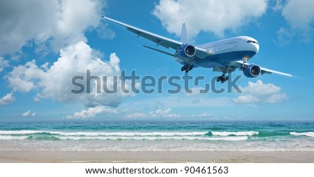 Jet plane over the beach. Vacation concept. Panoramic composition. - stock photo