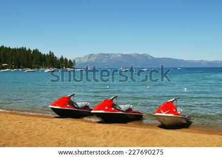 Jet Ski at Lake Tahoe - stock photo