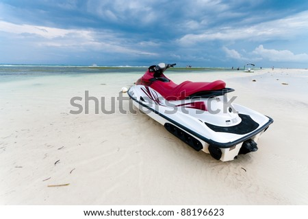 jet ski at low tide on a Bohol beach, Philippines