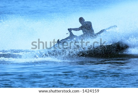 jet-ski fun on a day in summer - stock photo