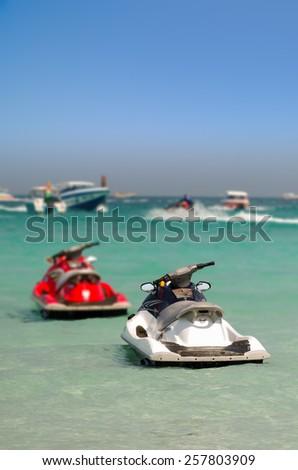 Jet ski in Tawaen beach, Koh larn Island, Pattaya, Thailand - stock photo