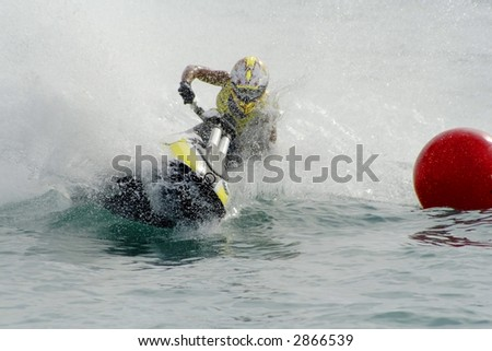Jet ski rider on the race - stock photo