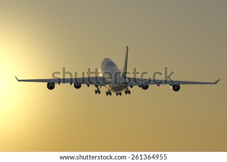Jet takeoff at dusk.  A Jet takes off at dusk towards an orange sky with a sun glow. - stock photo