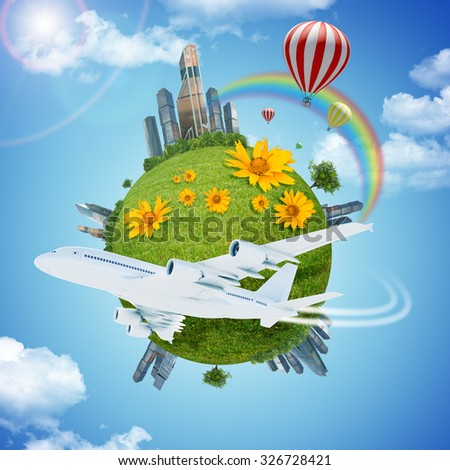 Jet with earth and modern city on blue sky background