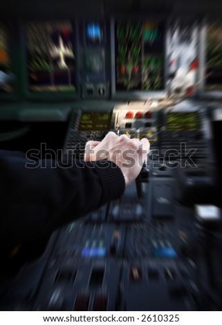 Jetliner cockpit before take-off - stock photo