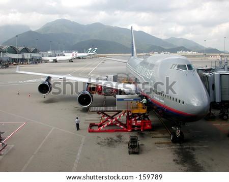 Jets on the Tarmac at Hong Kong's International Airport - stock photo