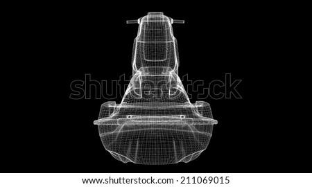 Jetski  isolated  view,  body structure, wire model