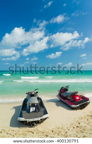 Jetski on the beach in Chaweng Koh Samui Thailand - stock photo