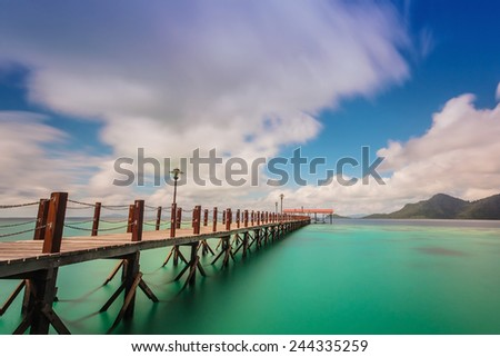 jetties provided for tourists who come to the island to enjoy its beauty - stock photo