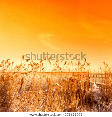 jettty on lake chiemsee,  snowy, in winter season - stock photo