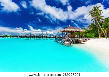 Jetty and palm trees with steps into amazing tropical blue lagoon - stock photo
