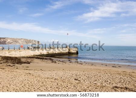 Jetty at Swanage, Dorset - stock photo