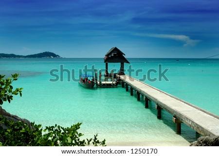 Jetty - beach scenery - stock photo