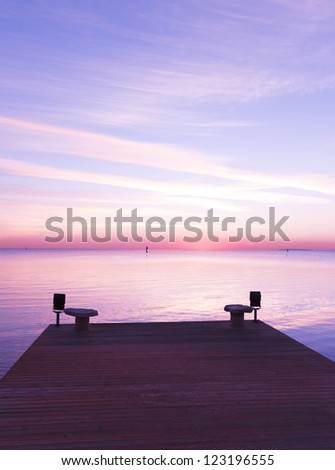 Jetty into Sunrise Heaven - stock photo