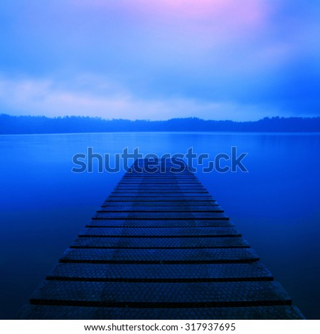 Jetty Lake Sunrise New Zealand Tranquil Rural Remote Concept - stock photo
