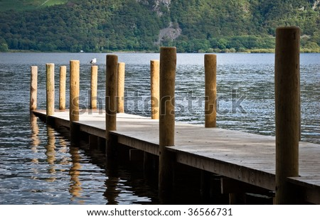 Jetty on Derwent Water lake in Keswick, Lake District