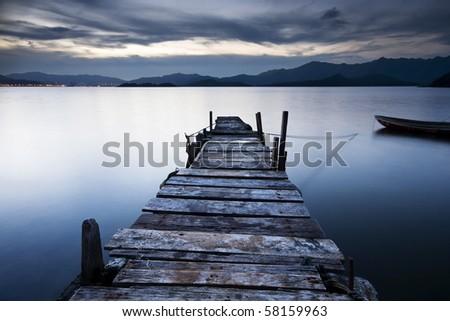 jetty sunrise - stock photo