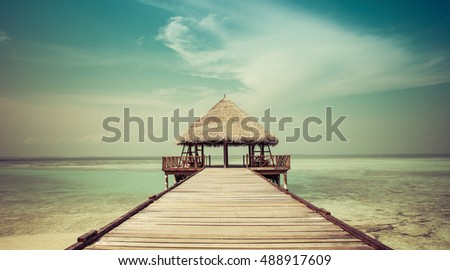 Jetty to a beach hut on the maldives