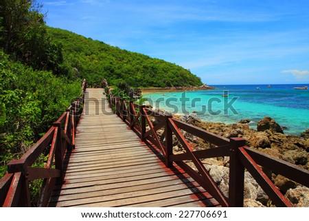 Jetty to a tropical beach, at koh lan island Pattaya city Chonburi Thailand. - stock photo