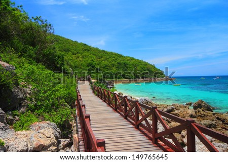 jetty to a tropical beach on island, at koh lan island Pattaya city Chonburi Thailand - stock photo