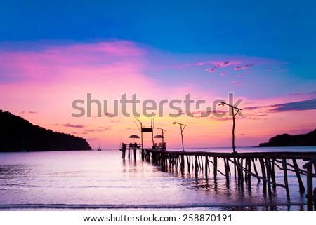 Jetty to Eternity Way to Sunset  - stock photo
