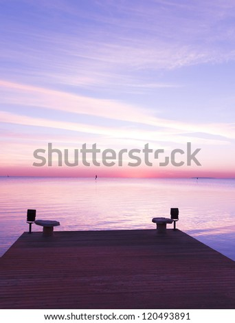 Jetty to sunrise Paradise - stock photo