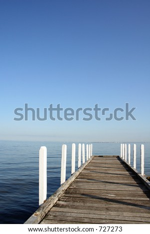 jetty view to ocean - stock photo
