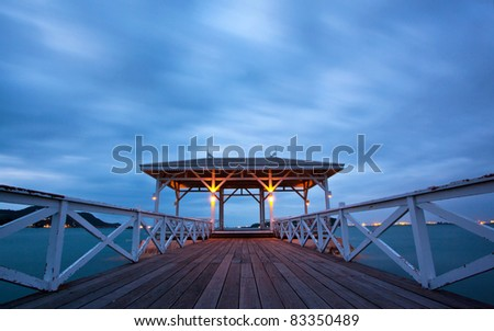 jetty walkway with pavillion at dusk, Srichang Island Pattaya Thailand - stock photo