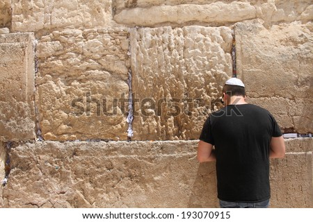 jew at the wailing wall jerusalem prayer - stock photo
