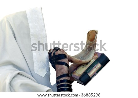 Jew blowing in shofar of Rosh hashana the white background(isolated). - stock photo