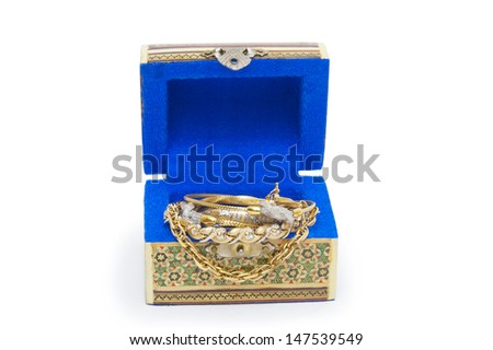 Jewel box with necklaces isolated on white background