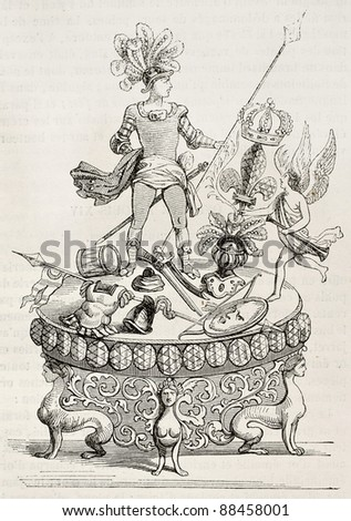 Jewel offered to Louis XIV in 1686. After old print, published on Magasin Pittoresque, Paris, 1844 - stock photo