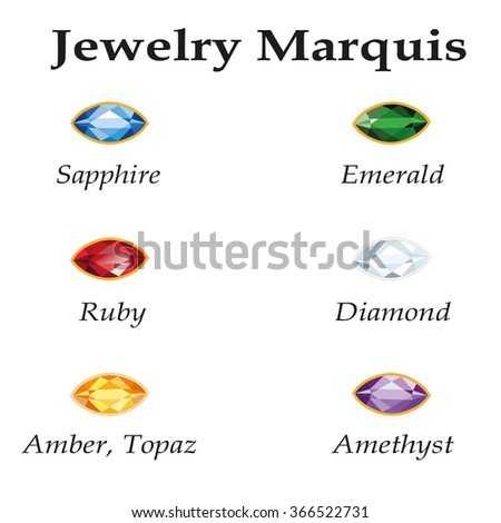 Jewelery set with faceting marquis - diamond, emerald, sapphire, ruby, amethyst, topaz and amber on white background. - stock photo